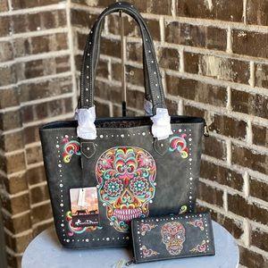Montana West Sugar Skull Concealed Carry Bag+Walle